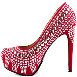 Ericdress Red Rivets Stiletto Heel Pumps