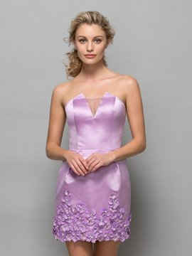 Ericdress Strapless Flowers Beading Short Cocktail Dress
