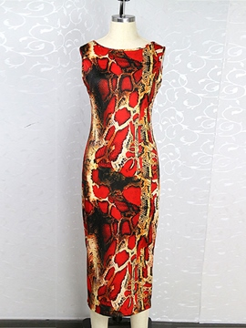 Ericdress Print Open Back Sheath Dress