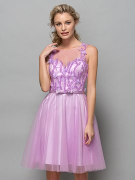 Ericdress A-Line Beading Sequins Bowknot Cocktail Dress