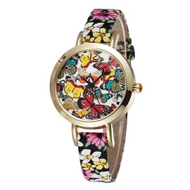 Ericdress Vogue Butterfly PU Belt Ladies Watch