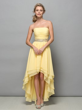 Ericdress Strapless Beading Pleats Asymmetry Cocktail Dress