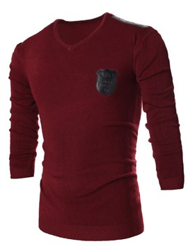 Ericdress Patched Pullover Men's Sweater