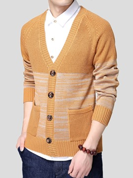 Ericdress Color Block Single-Breasted Men's Cardigan Sweater