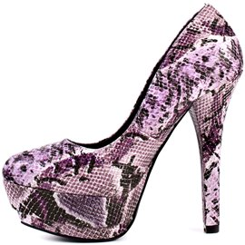 Ericdress Purple Snake Print High Heel Pumps