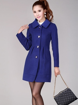 Ericdress Plain Single-Breasted Coat