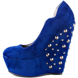Ericdress Royal Blue Wedges with Rivets