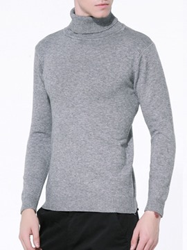 Ericdress Plain Turtleneck Slim Men's Pullover Sweater