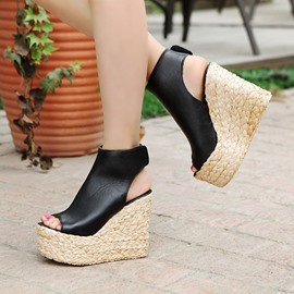 Ericdress Pu Peep Toe Wedge Sandals