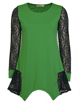 Ericdress Patchwork Lace Plus Size T-Shirt