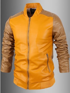 Ericdress Color Block PU Stand Collar Zip Men's Jacket