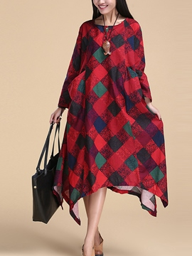Ericdress Plaid Asymmetric Maxi Dress