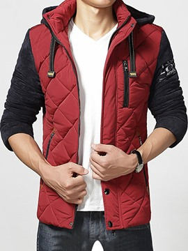 Ericdress Color Block Thicken Multi-Zip Men's Winter Jacket