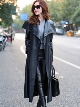 Ericdress Long Style PU Big Lapel Trench Coat