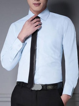 Ericdress Plain Long Sleeve Slim Business Men's Shirt