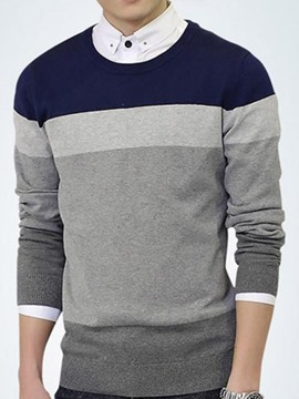 Ericdress Stripe Color Block Crewneck Men's Sweater