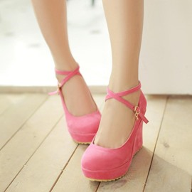 Ericdress Lovely Solid Color Suede Wedges