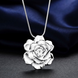 Ericdress Stereotype Silver Rose Necklace