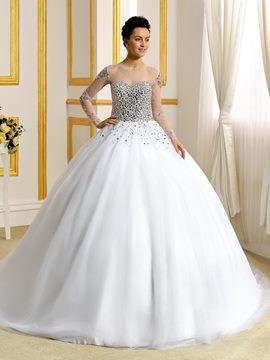 Ericdress Luxury Long Sleeves Ball Gown Wedding Dress