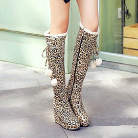 Ericdress Leopard Wedge Knee High Boots
