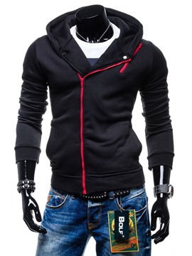 Ericdress Plain Oblique Zip Casual Men's Hoodie