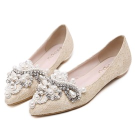 Ericdress Pointed Toe Rhinestone Bead Flats