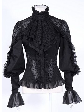 Ericdress Black Turtle Neck Lace Crochet Blouse