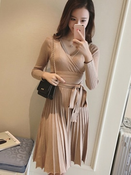 Ericdress Plain Pleated V-Neck Lace-Up Knit Casual Dress