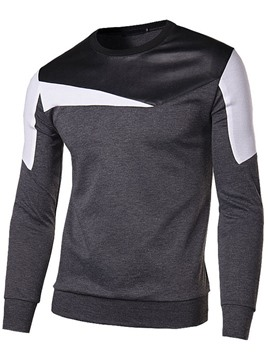 Ericdress Color Block Patched Pullover Men's Sweatshirt