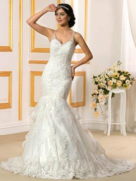 Ericdress Fancy Spaghetti Straps Backless Mermaid Wedding Dress