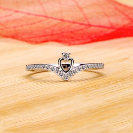 Ericdress Splendid Starlight Diamond Heart Ring