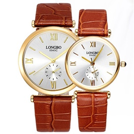 Ericdress Ultra-Thin Cowhide Belt Couple Quartz Watches