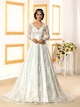Ericdress Elegant V Neck Long Sleeves Lace Wedding Dress