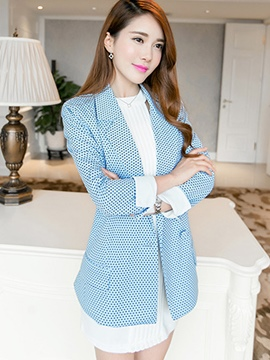 Ericdress Polka Dots Lapel One Button Blazer