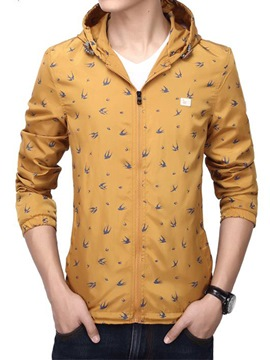 Ericdress Thin Printed Hooded Men's Jacket