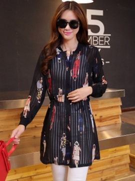 Ericdress Print Single-Breasted Casual Dress