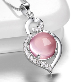Ericdress Pink Pure Heart Crystal Necklace