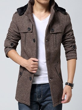 Ericdress Single-Breasted Stand Collar Hooded Design Men's Woolen Coat