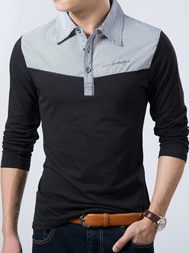 Ericdress Color Block Shirt Collar Long Sleeve Men's T-Shirt