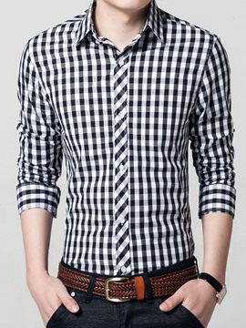 Ericdress Color Block Plaid Long Sleeve Slim Men's Shirt