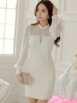 Ericdress Patchwork Stand Collar Lantern Sleeve Bodycon Dress
