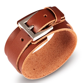Pin Buckle Decorated Men's Leather Bracelet