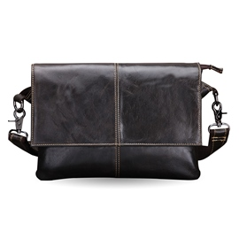Ericdress Men's Cowhide Messenger Crossbody Bag