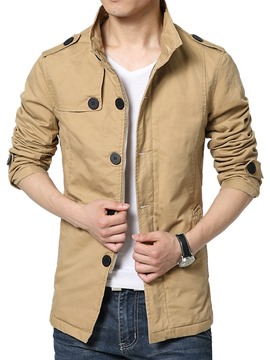 Ericdress Plain Stand Collar Zip Men's Trench Coat