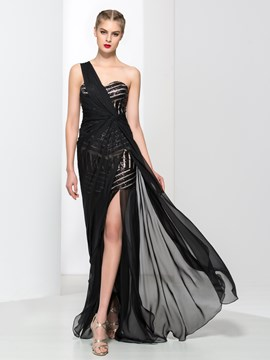 Ericdress Mermaid One-Shoulder Sequins Split-Front Evening Dress