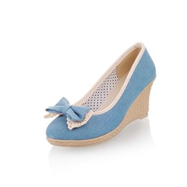 Ericdress Denim Bowtie Decorated Wedges
