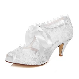 Ericdress Delicate Lace Peep Toe Wedding Shoes