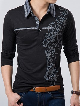 Ericdress Printed Long Sleeve Shirt Collar Men's T-Shirt