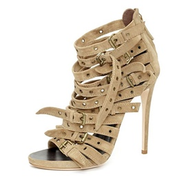 Ericdress Khaki Cross Strappy Stiletto Sandals