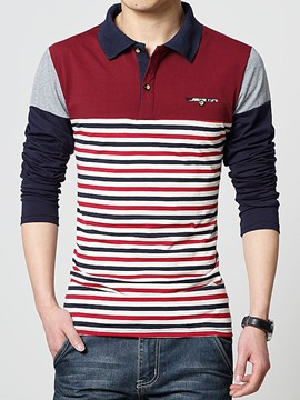 Ericdress Color Block Stripe Long Sleeve Polo Men's T-Shirt